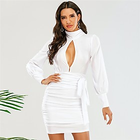 Women's Sheath Dress Short Mini Dress - Long Sleeve Solid Color Backless Ruched Fall Sexy Party Slim 2020 White XS S M L