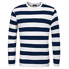 men's basic striped t-shirt crew neck cotton shirt navy