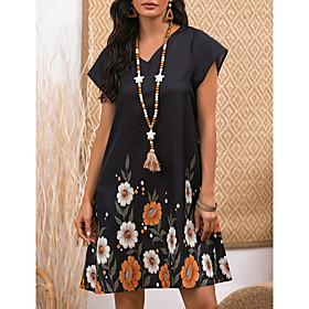 Women's A-Line Dress Knee Length Dress - Short Sleeve Floral Print Summer V Neck Casual 2020 Black M L XL XXL 3XL
