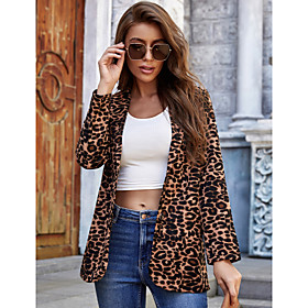 Women's Notch Lapel Collar Leopard Allover Print Coat Brown S M L