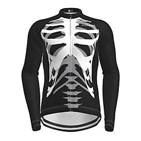 Men's Long Sleeve Cycling Jersey Black Novelty Skull Bike Jersey Top Mountain Bike MTB Road Bike Cycling Quick Dry Sports Clothing Apparel / Micro-elastic
