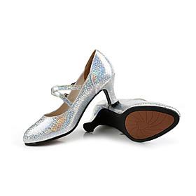 Women's Dance Shoes Latin Shoes / Practice Trainning Dance Shoes Heel Buckle Flared Heel Black / Gold / Black / Silver / Black / Performance