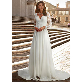 A-Line Wedding Dresses V Neck Chapel Train Chiffon Satin Long Sleeve Romantic Illusion Sleeve with Buttons Appliques 2020