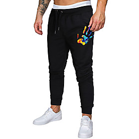 Men's Jogger Pants Drawstring Cotton Cartoon Sport Athleisure Pants Breathable Soft Comfortable Running Everyday Use Exercising General Use