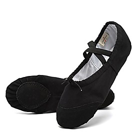 women's canvas ballet flats – split sole slippers dance shoes black size 7