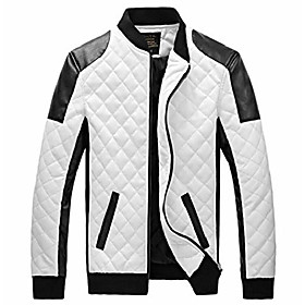 easy mens new winter faux leather coat thicken jacket 2xl white
