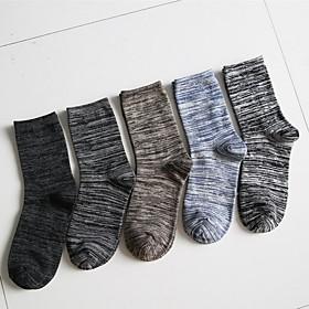 Men's Warm Socks - Striped Black Blue Yellow One-Size