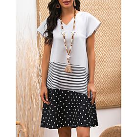 Women's A-Line Dress Knee Length Dress - Short Sleeve Polka Dot Striped Print Summer V Neck Casual Boho 2020 White M L XL XXL 3XL