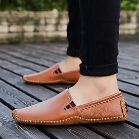 Men's Loafers  Slip-Ons Business / Casual / British Party  Evening Office  Career Walking Shoes Cowhide Breathable Handmade Wear Proof Black / Blue / Brown Sum