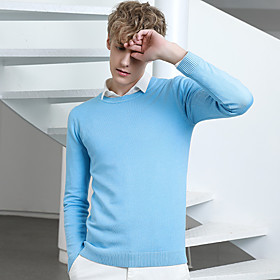 Men's Basic Solid Color Pullover Long Sleeve Sweater Cardigans Crew Neck Fall Winter White Black Blue