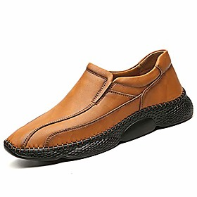 men's loafers casual slip on shoes breathable lightweight leather shoes driving boat shoes handmade flats dress shoes brown