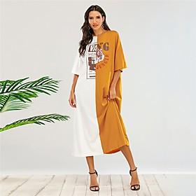 Women's T Shirt Dress Tee Dress Midi Dress - Half Sleeve Color Block Patchwork Fall Casual Loose 2020 Yellow XS S M L XL