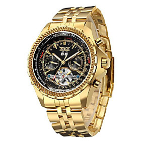 men's automatic watch, luxury gold tone stainless steel big face mens multi functional mechanical wristwatch litbwat