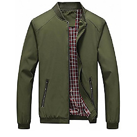 men's casual slim lightweight softshell spring windbreakers bomber jacket (armygreen, xx-large)