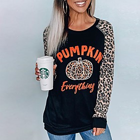 Women's Halloween Blouse Shirt Leopard Cheetah Print Long Sleeve Print Round Neck Tops Loose Basic Halloween Basic Top Brown
