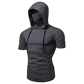 Men's Hoodie with Mask Running Shirt Short Sleeve Summer Cotton Thermal Warm Breathable Soft Running Jogging Training Sportswear Solid Colored Normal Tee Tshir