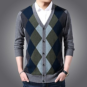 Men's Basic Knitted Color Block Sweater Long Sleeve Sweater Cardigans V Neck Winter Black Blue Dark Gray