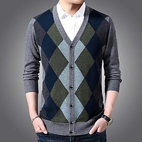 Men's Basic Knitted Color Block Sweater Long Sleeve Sweater Cardigans V Neck Winter Black Blue Dark Gray