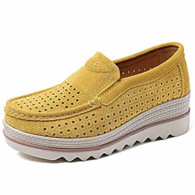 women's platform slip on loafers hollow out comfort suede moccasins low top casual shoes yellow 39