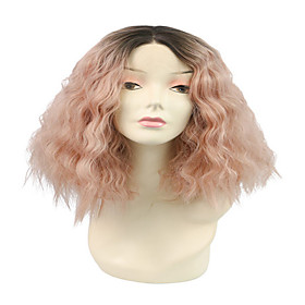 Synthetic Wig Wavy Loose Curl Pixie Cut Wig Short PinkRed Synthetic Hair Women's Fashionable Design Cute Party Pink