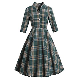 Women's A-Line Dress Knee Length Dress - 3/4 Length Sleeve Plaid Button Print Summer Shirt Collar Elegant Vintage Slim 2020 Green S M L XL XXL