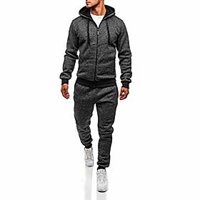 men's 2020 2 pieces solid color hoodie tracksuit, zipper up jogging gym sweatsuit pants sets activewear dark gray
