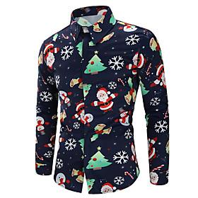 butamp;amp; #39;s ugly christmas tops casual xmas snowflakes santa printed shirt tee slim lapel long sleeve button top blouse s-xl