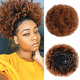 afro puff drawstring ponytail for black women short curly synthetic hair bun extension, updo ponytail hair piece with two clipsamp; # 40; t4 / 30 #amp; #41;