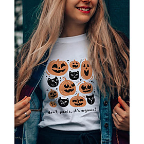 Women's Halloween T-shirt Graphic Prints Letter Pumpkin Print Round Neck Tops 100% Cotton Basic Halloween Basic Top White