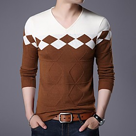 Men's Basic Knitted Color Block Pullover Long Sleeve Sweater Cardigans V Neck Winter White Yellow Wine