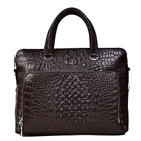 Men's Bags PU Leather Briefcase Zipper for Office  Career Black / Dark Coffee