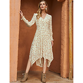 Women's Swing Dress Midi Dress - Long Sleeve Floral Print Fall Winter V Neck Casual Mumu Going out Chiffon 2020 Beige S M L XL