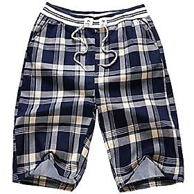 butamp; #39;s summer cotton loose plaid shorts amp; #40;navy, mamp; #41;