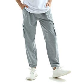 Men's Cotton Harem Pants Solid Colored Light Gray M L XL