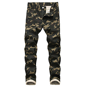 Men's Basic Daily Jeans Pants Camouflage Outdoor Black Yellow Green 30 32 34