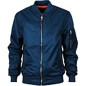 men's ma-1 windbreaker slim fitted bomber flight jacket blue m