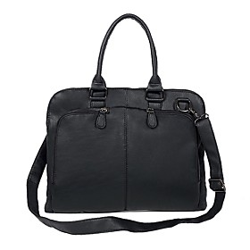 Men's Bags PU Leather Briefcase / Top Handle Bag Zipper for Office  Career Black