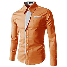 (n320) mens casual long sleeve stripe patched fitted dress shirts orange us l(tag size 3xl)