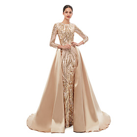 Mermaid / Trumpet Elegant Vintage Prom Formal Evening Dress Jewel Neck Long Sleeve Detachable Sequined with Sequin 2020