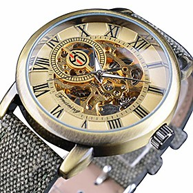 men's watch, mechanical stainless steel skeleton steampunk design automatic hand winding roman numeral wrist watch