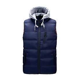 Men's Vest Parka Solid Colored POLY Black / Blue / Yellow M / L / XL