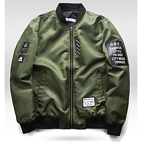 Men's Jacket Regular Solid Colored Daily Basic Black Army Green L XL XXL