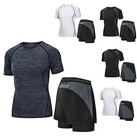 Men's 2-Piece Tracksuit Running T-Shirt With Shorts Casual Short Sleeve 2pcs Elastane Breathable Quick Dry Moisture Wicking Fitness Gym Workout Running Active