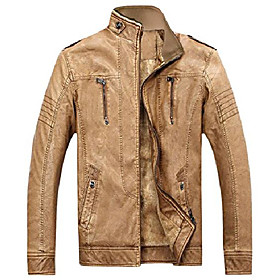 men's vintage full zip distressed sherpa lined faux leather biker jacket (x-large, syellow)