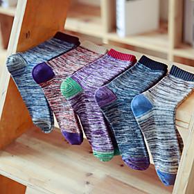 Men's Warm Socks - Striped Black Red Fuchsia One-Size