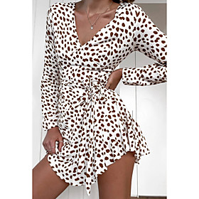 Women's Sheath Dress Short Mini Dress - Long Sleeve Polka Dot Print Fall V Neck Elegant Slim 2020 White S M L XL
