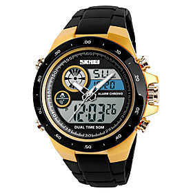 Men's Sport Watch Military Watch Digital Watch Digital Casual Alarm Analog - Digital Black Black / Red Gold / One Year / Stainless Steel / Quilted PU Leather /
