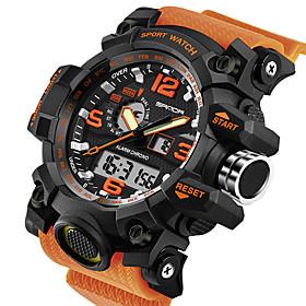 men's military watch, dual-display waterproof sports digital watch big wrist for men with alarm (orange)