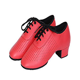 girl's leather lace-up dancing latin shoes breathable dance shoes, red (5.5 m big kid / 37) Listing Date:09/01/2020