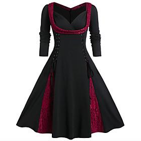 Women's A-Line Dress Knee Length Dress - Long Sleeve Color Block Lace Spring Fall V Neck Elegant 2020 Purple Red Green L XL XXL 3XL 4XL 5XL